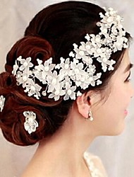 Imitation Pearl Headpiece-Wedding Special Occasion Hair Combs Flowers 1 Piece