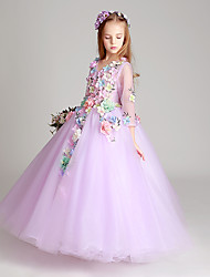 Floor-length Tulle Junior Bridesmaid Dress Princess Jewel with Appliques