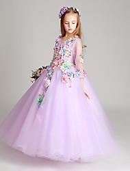 Longo Tule Vestido de Daminha de Honra Princesa Decorado com Bijuteria com Apliques