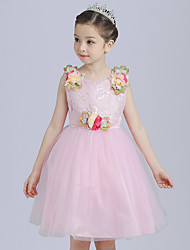 Ball Gown Short / Mini Flower Girl Dress - Cotton Satin Tulle Sleeveless Jewel with Bow(s) Flower(s) Sash / Ribbon