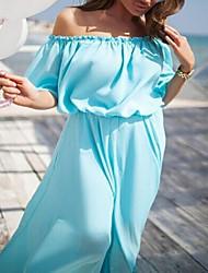 Women's Going out Vintage Bodycon Dress,Polka Dot Round Neck Midi Short Sleeve Cashmere Spring Low Rise Micro-elastic Medium