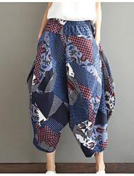 Feminino Boho Cintura Média Micro-Elástico Chinos Calças,Solto Estampado
