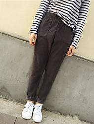 Sign 2017 spring new literary retro elastic waist corduroy pants wide Song Halun pants casual pants
