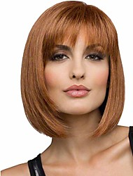 Popular Brown Color Straight Wigs European Synthetic Wigs