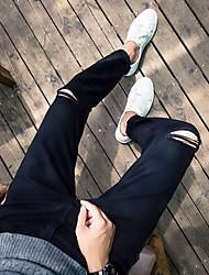 Masculino Simples Cintura Alta Com Elástico Chinos Calças,Reto Cor Única,rasgado