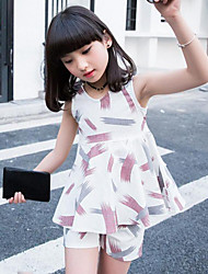 Girls' Casual/Daily Print Sets,Cotton Summer Sleeveless Clothing Set
