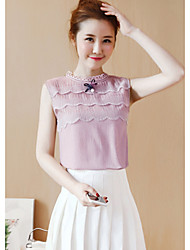 Really making 2017 summer women short-sleeved lace shirt Slim new wave of thin sleeveless chiffon shirt female summer