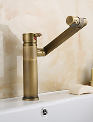 Antique Country Modern Centerset Widespread Rotatable with  Ceramic Valve Single Handle One Hole for  Antique Copper , Bathroom Sink