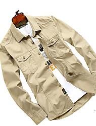 Men's Shirt Tops Breathable Quick Dry Spring Flaxen Light Khaki