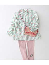 Casual/Daily Solid Shirt,Cotton Spring Long Sleeve Regular