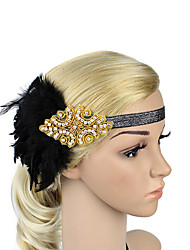 Women's Feather/Beads Rhinestone Elasticity Headpiece-Special Occasion/Party Flowers 1 Piece Headdress Hair Band Gold/Silver