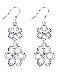 Concise Silver Plated Clear Crystal Hollow Flower Connected Drop Earrings for Party Women Jewelry Accessiories