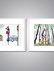 Framed Canvas Prints City Girl Picture Print Modern Canvas Art with White Frame  for Wall Decoration