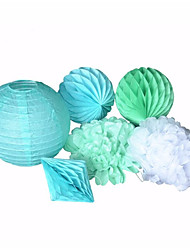 Wedding Decoration 6pieces-Mint Blue Paper Lantern Mint Blue and Green Honeycomb Ball  Mint green and White Paper Flower New Diamond Honeycomb Ball