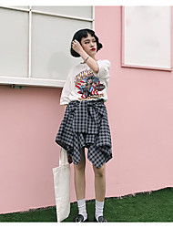 Women's Mid Rise Going out Above Knee Skirts A Line Check Spring