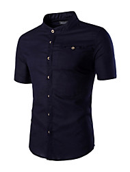 Men's Casual Fashion Solid Color Stand-Up Collar Long-Sleeved Shirt