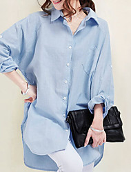 2017 spring new Korean version of Slim solid color cotton shirt long shirt dress texture