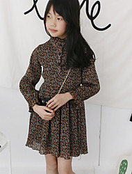 Girl's Casual/Daily Floral Dress,Polyester Fall Long Sleeve
