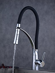 Contemporary Pull-out/­Pull-down Centerset Widespread with  Ceramic Valve Single Handle One Hole for  Chrome , Kitchen faucet