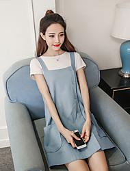 Signe 2017 nouvelle robe d'été robe féminine été solitaire grosse yard grande poche jupe robe mariée