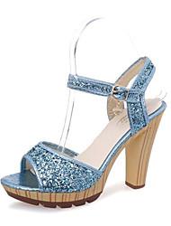 Damen-Sandalen-Lässig-Glanz-Keilabsatz-Fersenriemen-Gold Silber Blau
