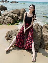 Real tiro femininas verão praia calças culottes verão férias lado divisão larga perna calças nacional vento flor calças turismo