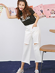 Women's Low Rise Inelastic Jeans Pants,Simple Wide Leg Solid
