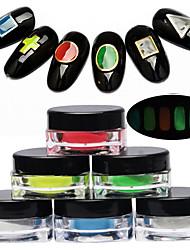 1 pc nail art poudre noctiluque lumineuse l'effet évident 6 couleurs