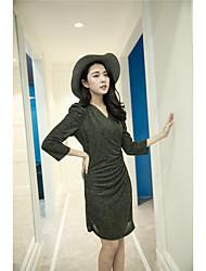 Signer le printemps nouvelles femmes coréennes boîte de nuit sexy slim package hip était fine taille v-cou robe