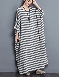 Women's Casual/Daily Simple Loose Dress,Striped Round Neck Maxi Cotton All Seasons Low Rise Micro-elastic Medium