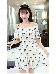 2017 Summer Korean small fresh floral cotton elastic waist was thin straps word shoulder dress