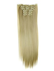 Synthetic Hair 58cm 130g with Clips 16 Clip in Hair Extensions False Hair Hairpieces Synthetic 23inch Long Straight Apply HairpieceD1014 24/613#
