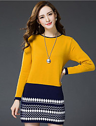 Women's Going out Casual/Daily Sheath Dress,Solid Round Neck Mini Long Sleeve Acrylic Spring Fall Mid Rise Stretchy Medium