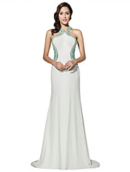 Sheath / Column Halter Court Train Jersey Formal Evening Dress with Beading