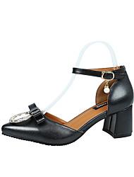 Women's Heels Spring Summer Comfort PU Office & Career Party & Evening Dress Chunky Heel Bowknot Sparkling Glitter