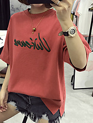 Sign Princess minimalist round neck loose big yards long section of personalized letters casual cotton short-sleeved t-shirt women