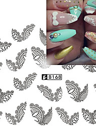 5pcs/Style Hot Design Sweet Black&White Lace Sticker Fashion Nail Art Water Transfer Decals Manicure Design Nail Art Beauty Decals  B168