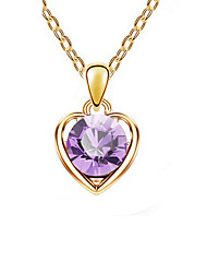 Women's Pendant Necklaces Crystal Chrome Love Heart Fashion Personalized Euramerican Gold Purple Light Blue Jewelry ForWedding Party