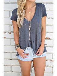 Europa 2017 neu aliexpress ebay Verkauf V-Ausschnitt kurz-sleeved T-Shirt Shirt Persönlichkeit Loch