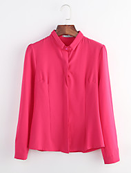 Women's Solid Plus Size Large Size OL Style Slim Work Shirt,Shirt Collar Long Sleeve