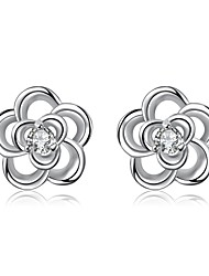 Concise Silver Plated Clear Crystal Hollow Flower Stud Earrings for Wedding Party Women Accessiories