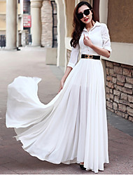 Royal sister put on a large long-sleeved dress shirt style sexy side slit length skirt