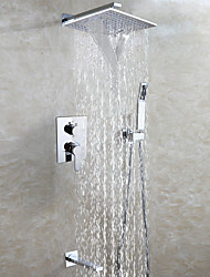 Easy-Installation Embedded Box Rain And Waterfall Shower Faucet Set / Brass Chrome Shower Head / Spout And Handheld Shower Included