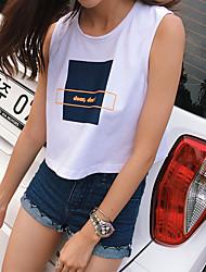 Damen Solide Niedlich Ausgehen T-shirt,Rundhalsausschnitt Sommer Ärmellos Baumwolle Mittel