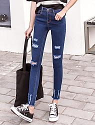 segno alti della vita dei jeans del foro i pantaloni scarni 2017 primavera piedi femminili 9 nove punti era pantaloni a matita sottile