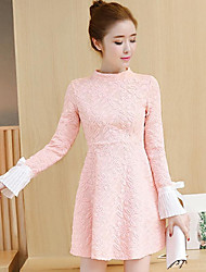 Sign spot in spring 2017 new women in the long section bottoming wild lace long-sleeved dress