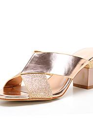 Damen-Sandalen-Büro Kleid Lässig-Kunststoff Lackleder-Blockabsatz Block Ferse-Club-Schuhe-