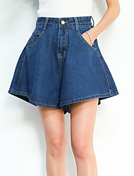 Sign the same section loose waist denim shorts culottes female students Korean Institute of wind casual wide leg pants