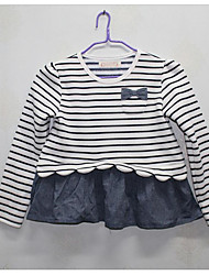 Girl's Casual/Daily Solid Striped Dress,Cotton Summer Long Sleeve