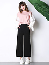 assinar modelos primavera novos grandes calças bolso calças perna larga estudantes casual calças de cintura elástica calças stretch